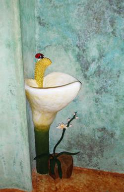 Lavamanos Anturio con llave de grifo en forma de mariquita