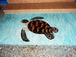Entrada a casa en cemento pulido con diseño de tortuga sobre fondo de agua en acido